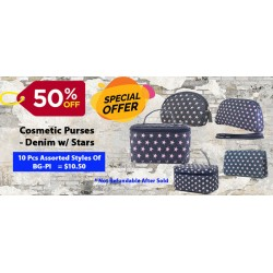 50% off  (10 PC) Assortment Cosmetic Purses - Denim w/ Stars